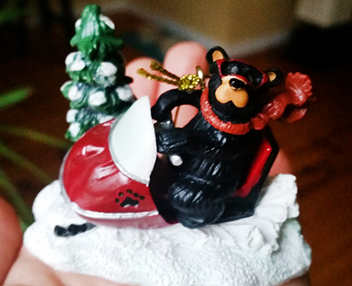 Christmas Haul T1D Living Snowmobiling Bear Ornament