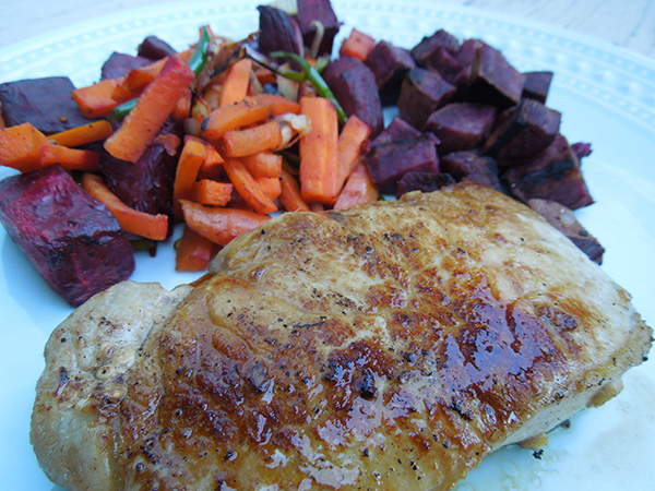 easy-ginger garlic pork chops with beets