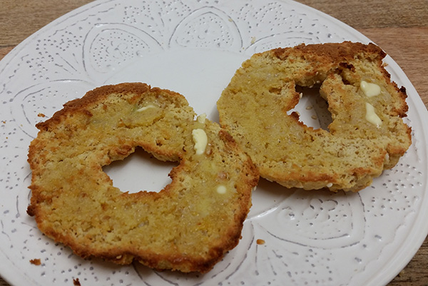 low carb paleo bagels cut buttered