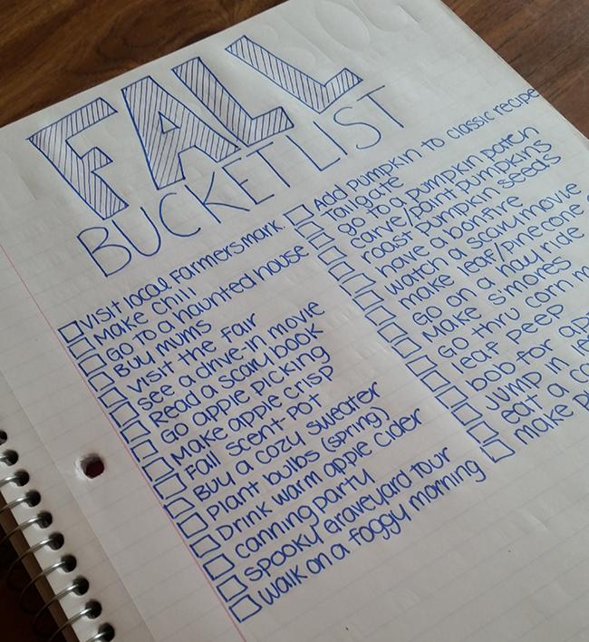hand written fall bucket list