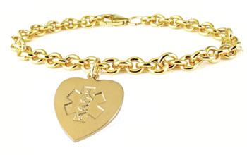 medical alert id gold charm
