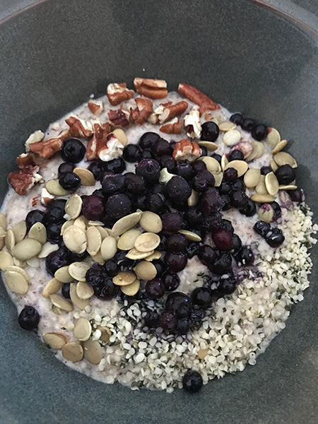 blueberry chia oatmeal close up