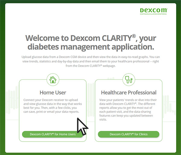 Dexcom clarity step 1