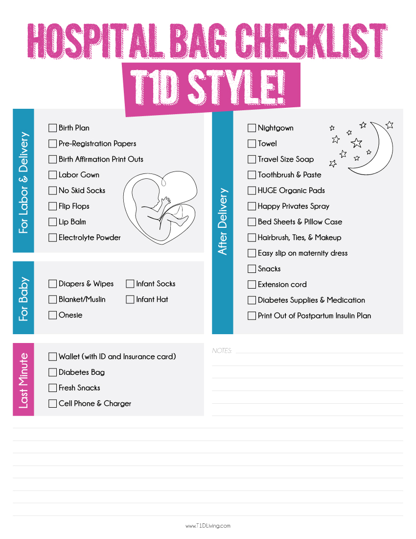 T1D Hospital Bag Checklist by T1D Living
