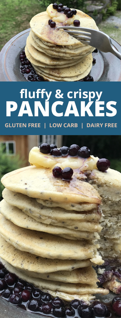 Pinterest Fluffly and Crispy Gluten Free Low Carb Pancakes
