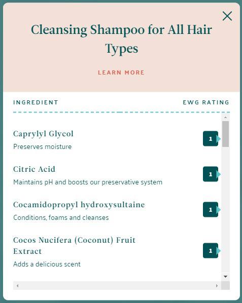 wellness shampoo ingredients