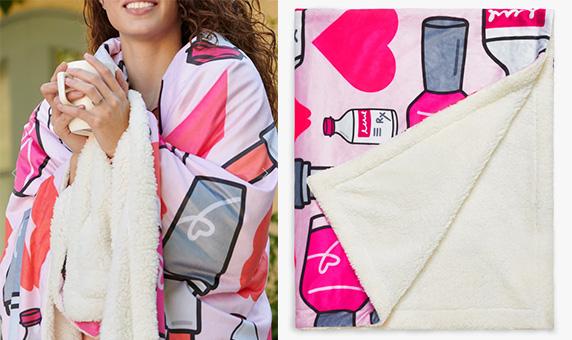 woman wrapped in diabetes blanket